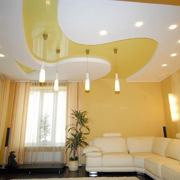 Многоуровневые натяжные потолки на фото
